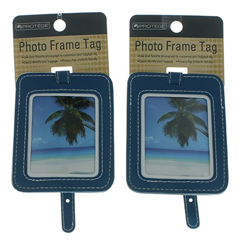 Set of 2 Protege Photo Frame Luggage Tags Suitcase ID Blue (Picture Luggage Tags)