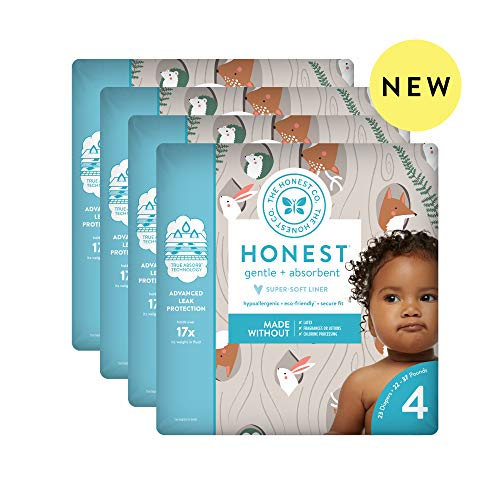 The Honest Company Baby Diapers with TrueAbsorb Technology, Tree Houses, Size 4, 92 Count