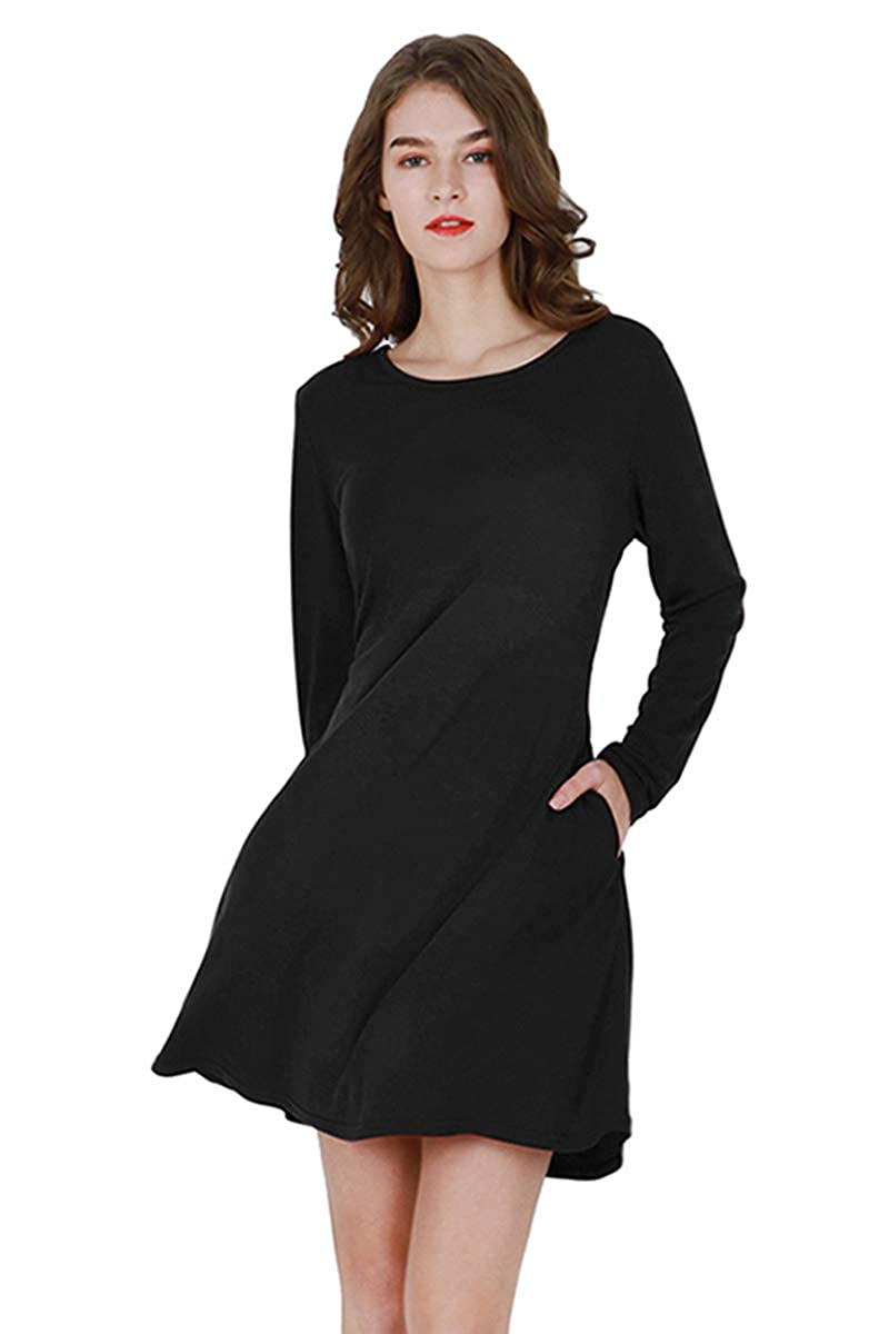 66e0b2d35f11 YMING Women's T-Shirt Mini Dresses Causal Loose Long Sleeve Short Flowy  Dress with Pockets at Amazon Women's Clothing store: