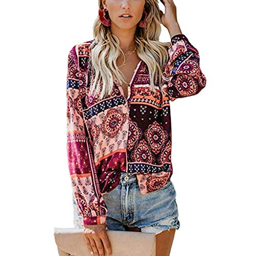 〓COOlCCI〓Women Floral Printed Swing Tunic Tops Boho Long Sleeve V Neck Ethnic Style Loose Blouses Button up Shirts Wine