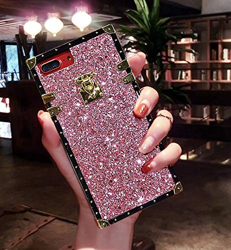 KAPADSON for iPhone 7 Plus/iPhone 8 Plus Luxury Bling Glitter Sparkle Cute Gold Square Corner Soft Silicone Phone Case Cover - Pink