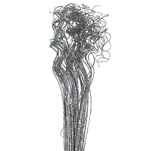 "Silver Sparkle Glitter Curly Ting Ting Branches Vase Filler for Wedding, Holiday & Home Decoration by Royal Imports, 26"", 75 Stems"