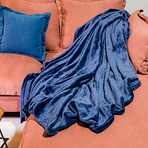 DOZZZ Oversize Flannel Throw Blanket with Cozy Plush Soft Cover for Sofa Chair and Bed Furniture Gift Navy Blue