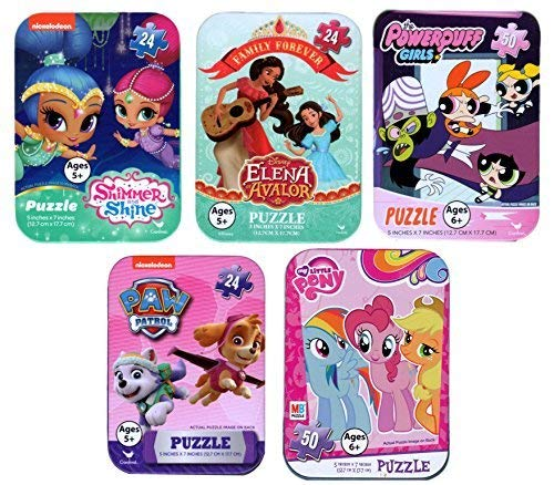 (5 Collectible Puzzles Tins for Girls Ages 5+ 6+ Disney Princess Shimmer and Shine Elena Avalor PowerPuff Girls Puppy Patrol My Little Pony Gift Set)