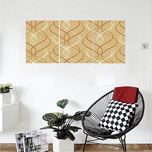 Liguo88 Custom canvas Abstract Curved Stripes Forming a Line Pattern on a Distressed Paper Like Background Wall Hanging for Bedroom Living Room Brown White Beige (Linen White Touch Up Paint)