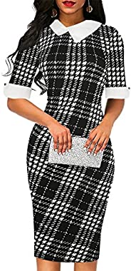 Sakaly Women's Slim Fit Plaid Floral Printed Half Sleeve Formal Body-con Pencil Dresses S