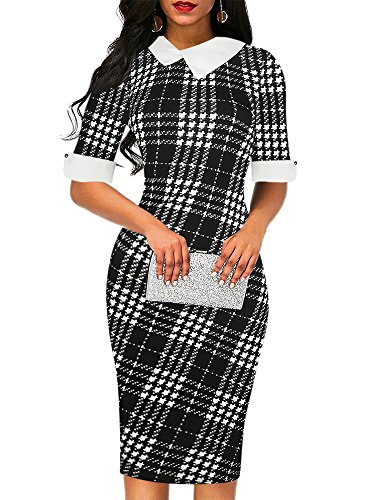 oxiuly Women's Elegant Black White Plaid Patchwork Cotton Stretch Church Work Wedding Knee Length Casual Pencil Dress OX276 (M, Black Plaid)