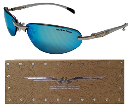 E8 Element Eight Metal Wire Frame Sunglasses Semi-Rimless – Silver Frame – Blue Mirror - Wire Sunglasses Men Frame