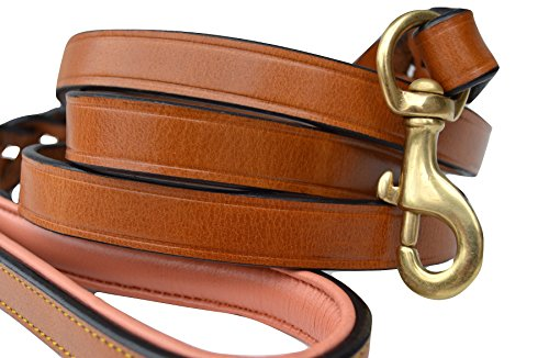 - Soft Touch Collars Leather Braided Dog Leash, Tan with Coral Padded Handle, 6 Feet x 3/4 Inch Wide, Genuine Real Leather