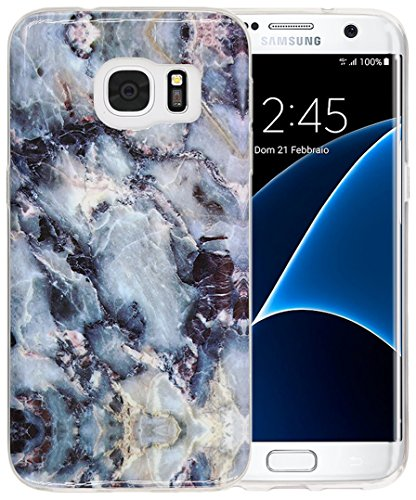 Galaxy S7 Edge Case, A-Focus Marble Pattern Soft Gel TPU Cover Case for Samsung Galaxy S7 Edge (Gray) - Edge Pattern