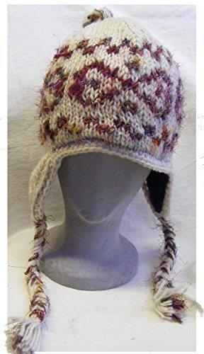 Handgestrickt mit fleecefutter Creme wollen mütze mit ohrenklappen mit recycelte seide detail - fair trade - 100% wolle - Ideal from skifahren, snowboard und skifahrender