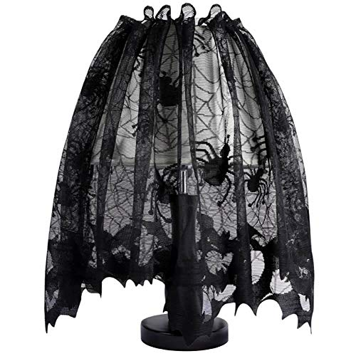 ISKYBOB Multifunction Halloween Decoration - Black Spider Web Lamp Shades Topper Lace Fireplace Mantel Scarf ()
