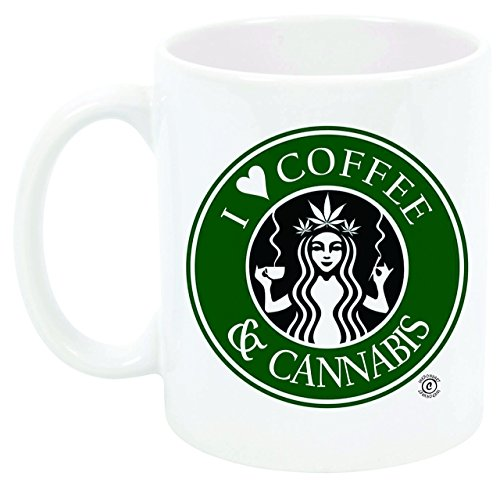 """I Love Coffee and Cannabis"" Coffee mug, Reefer, 420, Great Gift, Marijuana, Weed, Stoner, Pot Head, Funny Cup"