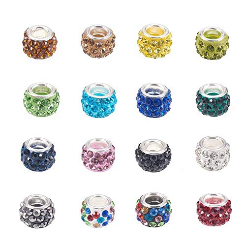 Craftdady 100Pcs Random Mixed Color Polymer Clay Large Hole European Beads with Rhinestone 11~12x7~7.5m Rondelle Slide Bead Spacers for DIY Snake Chain Charm Bracelet Making with 5mm Big ()