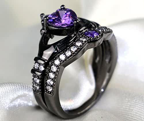 Gy Jewelry Heart Amethyst Black Gold Filled Women's Wedding Ring Sets Claddagh Ring Gifts