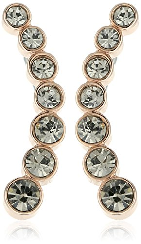 Fossil Round Earrings - Fossil Vintage Glitz Curved Rose Gold-Tone Stud Earrings