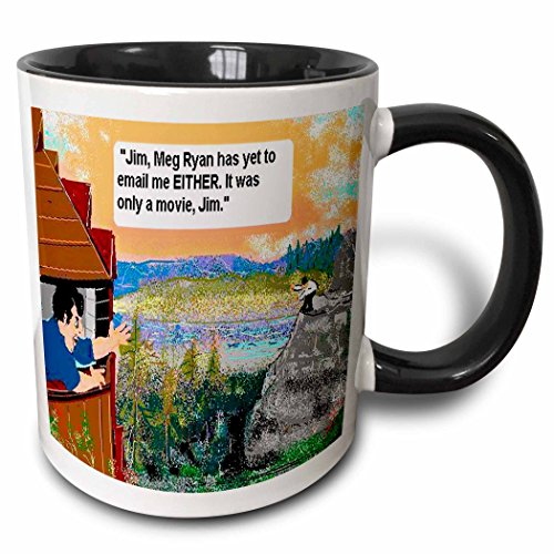 3dRose Londons Times Funny Relationships Cartoons - You ve Got Mail - 11oz Two-Tone Black Mug (mug_1914_4)