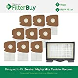 Eureka Mighty Mite Canister Vacuum Kit, 1 HF8 (HF-8) HEPA Filter & 9 Eureka Type MM High Efficiency Allergen Bags. Designed by FilterBuy to replace Eureka part #s 60666, 60297A, 60295, 60296 & 60297.