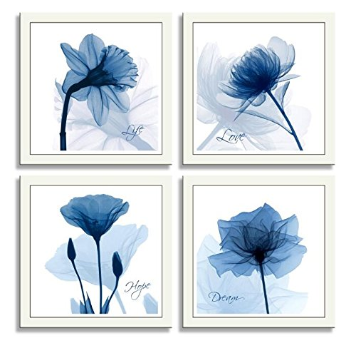 HLJ Arts 4 Panels Crystal Theme Giclee Flickering Blue Flowers Printed Paintings on Canvas for Wall Decor 12x12inches 4pcs/set (Blue) by HLJ Arts