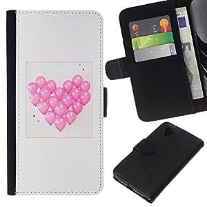 Planetar® Modelo colorido cuero carpeta tirón caso cubierta piel Holster Funda protección LG Nexus 5 D820 D821 ( Balloon Heart Love Valentines Grey Pink )