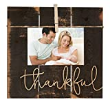 Thankful Grey 11 x 10 Inch Solid Pine Wood Clothesline Clipboard Photo and Momento Display