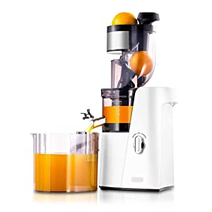 SKG Slow Masticating Juicer Cold Press 36 RPM Quiet High Yield Anti-Oxidation, Big Mouth Fruit Vegetable Wheatgrass Orange Juice Extractor-Mother's Day Gift