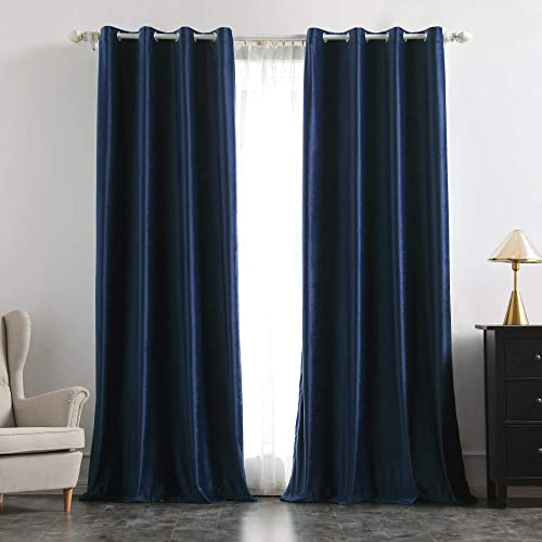 MIULEE 2 Panels Blackout Velvet Curtains Solid Soft Grommet Navy Blue Curtains Thermal Insulated Soundproof Room Darkening Curtains / Drapes / Panels