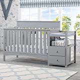 Delta Crib with Changing Table Attached Presley All-In-One Convertible Crib N Changer, Toddler Bed, Daybed and a Full Size Bed, Grey