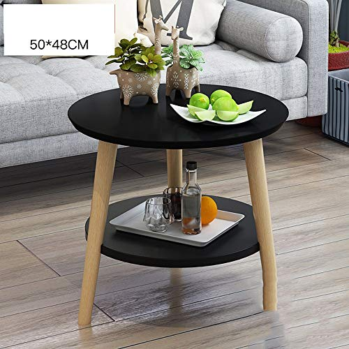 Tables YNN Bedside Small Coffee Small Round Solid Wood Simple Leisure Bay Window (Color : Black, Size : 60cm)