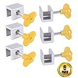 Sliding Window Locks,MUTOCAR 6 pcs Adjustable Aluminum Alloy Door Frame Security Lock with Keys