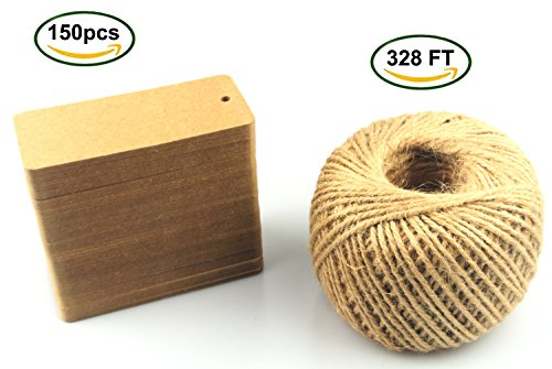 Maydahui 150pcs Kraft Paper card (Product Price Gift Tags) with 328 Feet Natural Jute (Vintage Halloween Printables)
