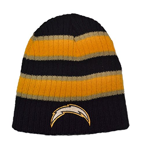 Reebok San Diego Chargers Striped Bunker Skull Cap - NFL Cuffless Beanie Knit Hat