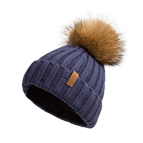 Winter Turn up Beanie Hat Fur Pompom VC17604 Blue Gold Pompom (Fleece Toque)