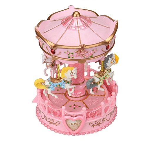 QVM Pop Pink Music Box Carousel Gift for Girl with Four Rotating Horses and Lighting Pony ()