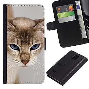 LASTONE PHONE CASE / Lujo Billetera de Cuero Caso del tirón Titular de la tarjeta Flip Carcasa Funda para Samsung Galaxy Note 4 SM-N910 / Cat Blue Eyes Feline Grumpy Face Furry