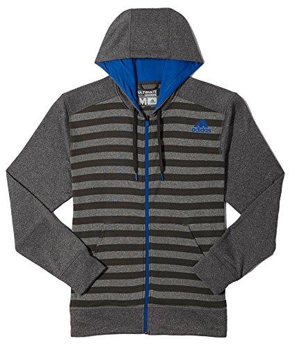 Adidas Men's Ultimate Stripe Hoodie, Solid Grey/Blue Beauty, Large