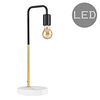 Retro style black and gold effect metal table lamp with a white retro style black and gold effect metal table lamp with a white marble base complete aloadofball Choice Image