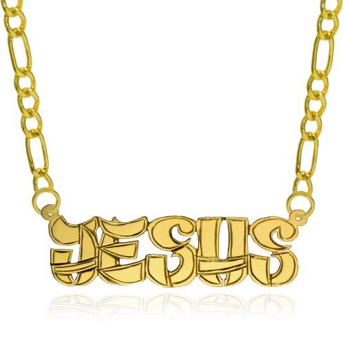14K Yellow Gold Personalized Name Necklace - Style 4