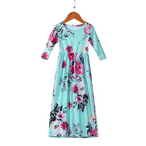Girls Flower Print Dress 3/4 Sleeve Pleated Casual Swing Long Maxi Dress with Pockets Summer Spring Dresses 2-5Y (Blue, 3T (2-3 Years)) by Cealu (Image #3)