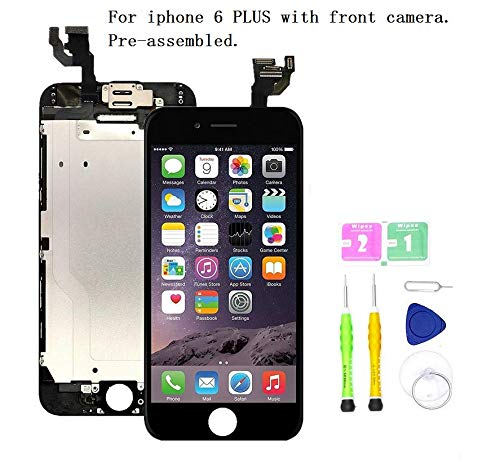Screen Replacement Compatible with iPhone 6 Plus Full Assembly - LCD Touch Display Digitizer with Ear Speaker, Sensors and Front Camera, Fit Compatible with All iPhone 6 Plus (Black)