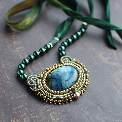 (Soutache handmade embroidered oval dark green blue gold pendant with labradorite, Beaded luxury small coctail evening necklace, Fabric oriental gemstone bohemian boho ethnical jewelry for woman)