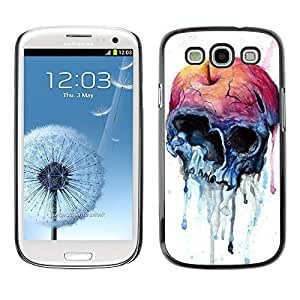 Colorful Printed Hard Protective Back Case Cover Shell Skin for SAMSUNG Galaxy S3 III / i9300 / i747 ( Apple Skull Watercolor Blue Health )