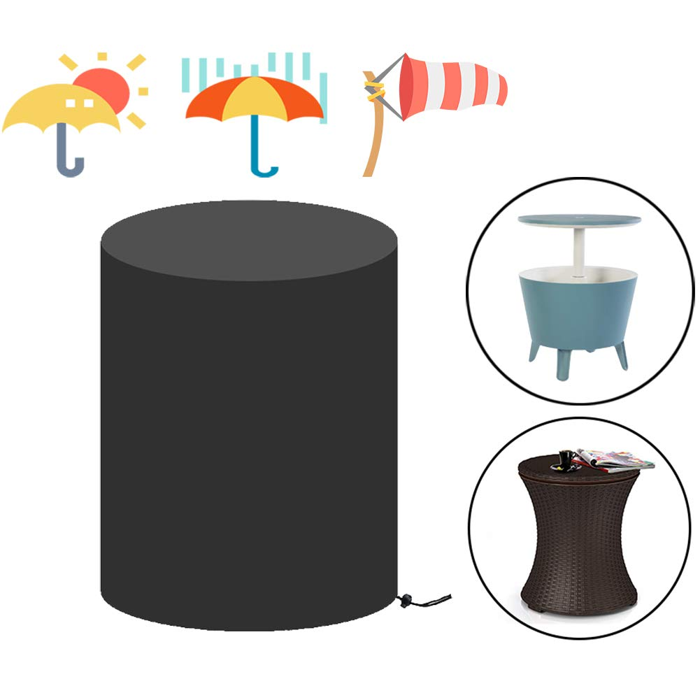 Saking Patio Bar Table Cover Round Waterproof for Keter 7.5-Gal Cool Bar Table Outdoor Coffee Beverage Cooler Bins – 21D x 23H inches