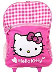 Hello Kitty Glitter White and Pink Checker Rolling Backpack