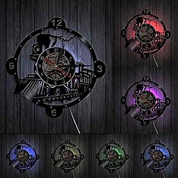 HIDFQY Reloj de Pared de Tren de Locomotora de Vapor Reloj de Vinilo de Motor de Vapor Vintage decoración de Pared de Locomotora de Tren Regalo de Entusiasta de Tren con LED