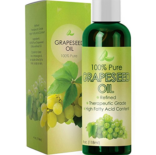 Pure Grape Seed Oil Extract Cold Pressed Extraction Moisturizing Antioxidant Oil for Skin Hair and Nails Great for Massage Anti Aging Face Moisturizer Hair Serum With Vitamins E C D for Women and Men (100 Organic Grape Seed Oil)