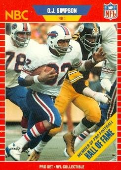 O.J. Simpson Football Card (Buffalo Bills) 1989 Pro Set #29
