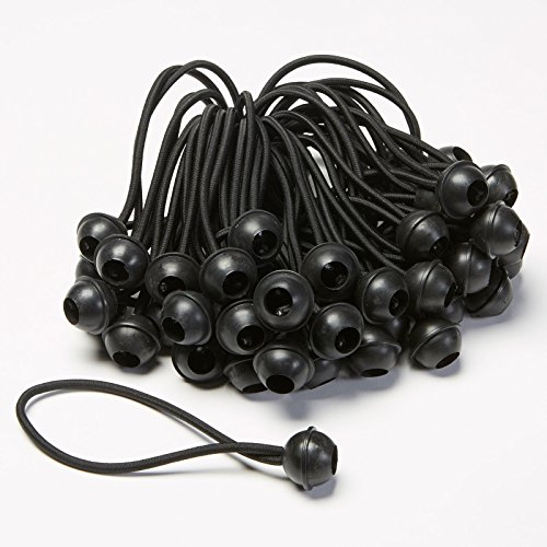 Carl's 6 Black Ball Bungees for DIY Projector Screen (Mounting) (Bag of 50)