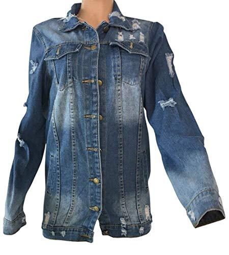 Adelina Chaqueta Primavera Streetwear Fashion Estilo De Largos Vaquera Relaxed Manga Mujer Blau Jeans Denim Otoño Outwear Tendencia Elegantes Lavado Larga Abrigo Casual Rasgado Ropa r5vAqr