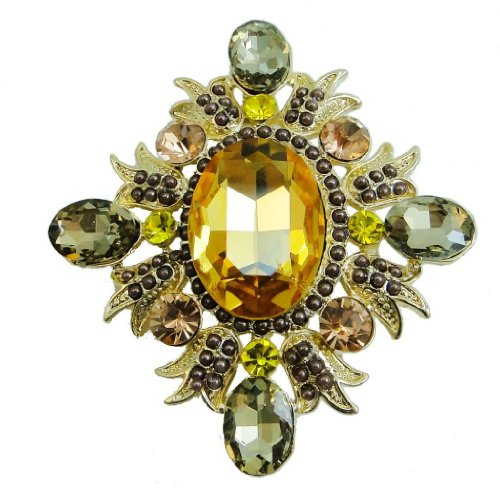 EVER FAITH Deluxe Floral Simulated Pearl Austrian Crystal Topaz Color Brooch
